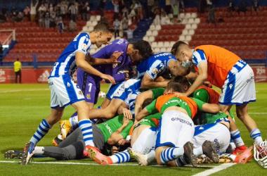Celebración del gol de la victoria de Julen Lobete. Fuente: Real Sociedad