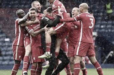 Los jugadores del Liverpool celebrando el gol de Allison en el último minuto / FOTO: Liverpool FC