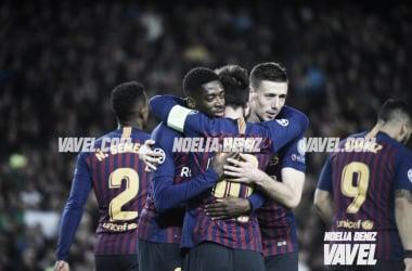 Los jugadores del Barcelona celebrando un gol ante el Olympique de Lyon   Foto: Noelia Déniz (VAVEL)