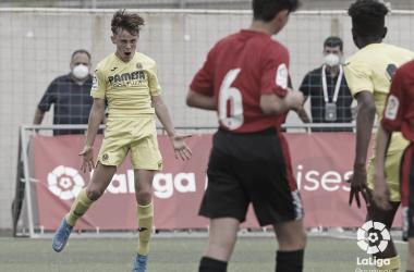 "<p class=""MsoBodyText"">Álvaro celebra su gol // Foto: LaLiga<o:p></o:p></p>"