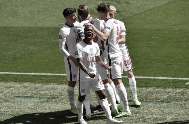La euforia de Sterling después de su gol / Foto: Selección Inglesa de Fútbol