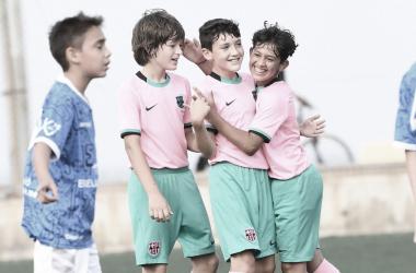 El FCB Alevín D celebrando un gol este curso. Foto: FC Barcelona