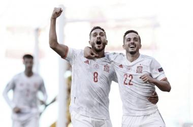 Koke y Sarabia celebran el 0-3 / FOTO: Selección Española