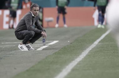 Luis Enrique en el verde en el partido contra Italia // Selección Española de Fútbol