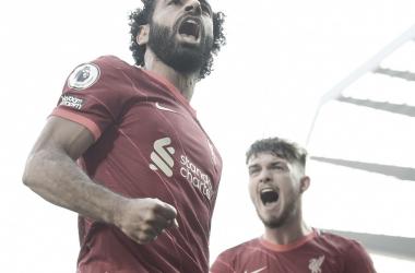 Salah anotó su gol nº99 en Premier League / Foto: Twitter @LFC