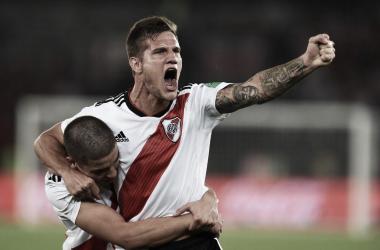 Zuculini comemorando primeiro gol do River Plate na disputa de terceiro lugar (Foto: Divulgação/ River Plate)