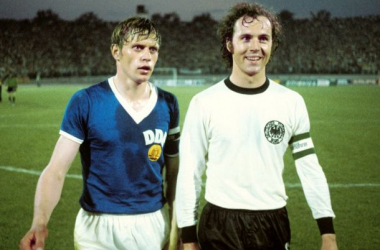Polar opposites in that historic clash in the 1974 FIFA World Cup; Bernd Bransch of Carl Zeiss Jena, the East-German captain, and Franz Beckenbauer of Bayern Munich, the West-German captain