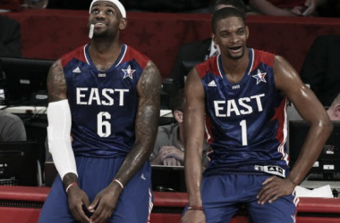 LeBron James and Chris Bosh, two of the Eastern Conference's biggest stars. (Brett Davis, USA TODAY Sports)