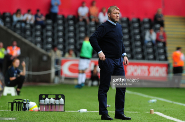 Hull City boss Grant McCann in their Championship match against Swansea City