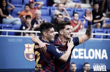 Daniel Morer y Monchu Rodríguez celebrando un gol ante el Orihuela Club de Fútbol | Foto de Noelia Déniz, VAVEL