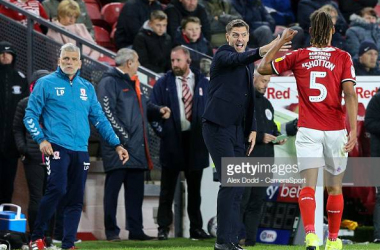 MIDDLESBROUGH, ENGLAND - OCTOBER 01: Middlesbrough manager Jonathan Woodgate shouts instructions to Ryan Shotton from the technical area during the Sky Bet Championship match between Middlesbrough and Preston North End at Riverside Stadium on October 1, 2019 in Middlesbrough, England. (Photo by Alex Dodd - CameraSport via Getty Images)<br>