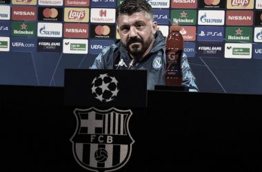 """Gattuso lamenta falta de eficiência do Napoli, mas garante: """"Muito satisfeito com o desempenho"""""""