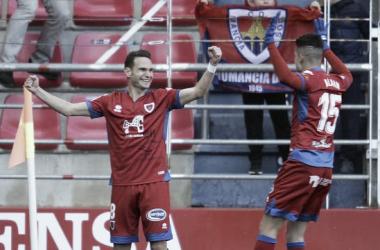 David Rodríguez marcó su primer gol como numantino en el primer balón que tocó. Imagen: La Liga