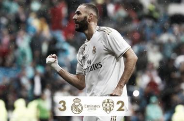 Karim Benzema y el resultado final del partido / Foto: Real Madrid