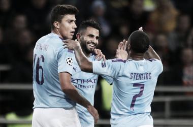 Rodri, Mahrez y Sterling celebrando uno de los goles / Fuente: UEFA Champions League