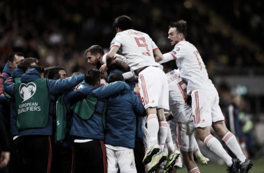España celebrando su clasificación a la Eurocopa 2020 | Fotografía: UEFA