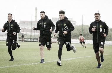 Nazareno Solís, Leonel Galeano, Lucas Villalba y Federico Gino en la práctica del martes. (Foto: Prensa Club Atlético Aldosivi).