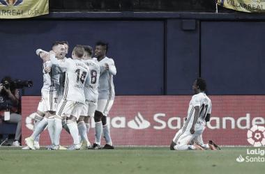 Los jugadores del Celta celebrando el gol de Aspas . | Fuente: LaLiga.