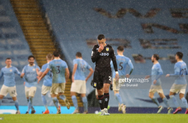<b>Manchester City </b>players celebrate their second goal of the game as <b>Anwar El Ghazi </b>reflects on what might of been for the away side.<b> (Getty Images- Clive Brunskill)</b>