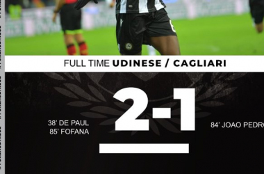 Serie A - L'Udinese batte il Cagliari per 2-1