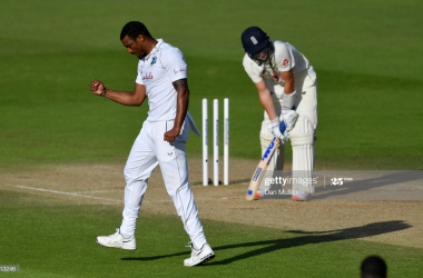 Shannon Gabriel celebrates bowling Ollie Pope