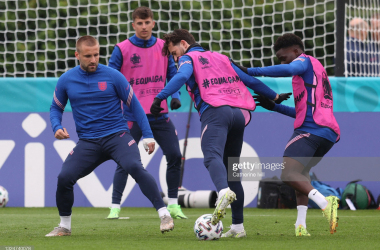 ENFIELD, ENGLAND - JUNE 21: Ben Chilwell of England during an England training session at Tottenham Hotspur Training Centre on June 21, 2021 in Enfield, England. (Photo by Catherine Ivill/Getty Images)