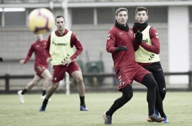 Xisco y los García durante el entrenamiento // Fuente: Osasuna
