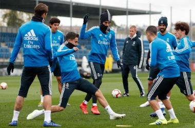 Jugadores del Real Madrid en el entrenamiento de hoy. Fuente: Real Madrid