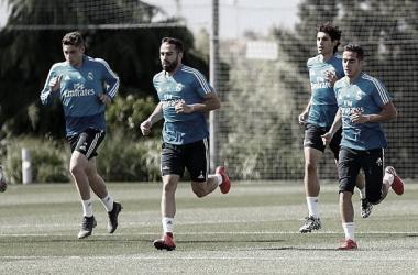 Jugadores del Real Madrid durante el entrenamiento. Fuente: Real Madrid