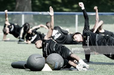 Rodrygo realizando ejercicios durante un entrenamiento de pretemporada/ Foto: Getty Images