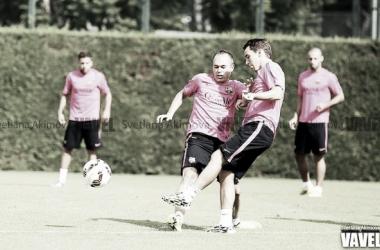 El Barça se entrena con los jóvenes