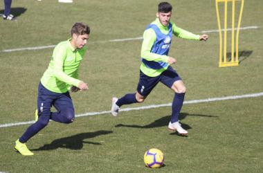 Pozo en un entrenamiento del Granada CF [Foto: Óscar Yeste]