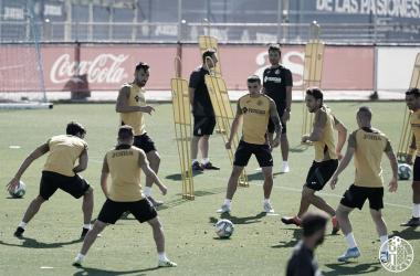 Los jugadores del Getafe preparan los próximos encuentros del equipo aprovechando el parón | Fuente: Getafe CF