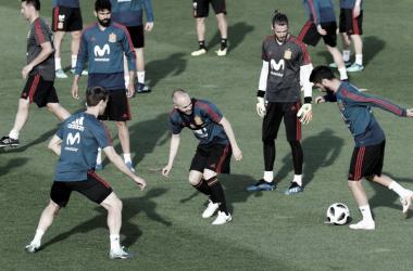 Entrenamiento de la Selección Española ya con los madridistas I Foto: EFE