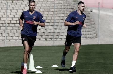 El Atlético vuelve a entrenar en grupo
