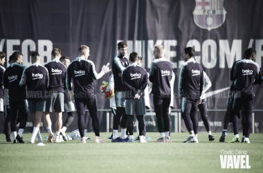 Los jugadores azulgranas entrenando en una imagen de archivo / Foto: Noelia Déniz (VAVEL.com)