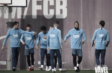 Algunos jugadores azulgranas durante el entrenamiento del viernes / Foto: Noelia Déniz (VAVEL.com)