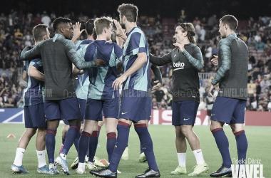 Calentamiento del Barcelona antes del partido | Foto: Noelia Déniz - VAVEL