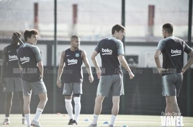 Riqui Puig y Miranda se han ejercitado con el primer equipo | Foto: Noelia Déniz - VAVEL