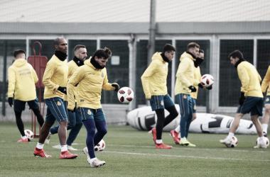 Jugadores durante el último entrenamiento. Foto; Web RCD Espanyol.
