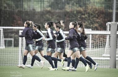 Las jugadoras del FC Barcelona Femenino, en una sesión de entrenamiento. FOTO: Noelia Déniz