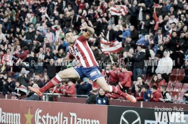 Àlex Granell celebra el tanto de penalti en la goleada del Girona al Getafe (5-1).   Foto: Andrea Ruiz (VAVEL).