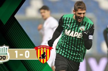 Serie A, il Sassuolo soffre ma batte il Benevento