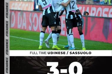Show in Friuli: l'Udinese supera 3-0 un Sassuolo poco pungente