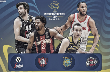 La presentación de los cuatro equipos, con cuatro jugadores destacados.. | Foto: Póster oficial, FIBA.