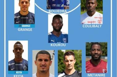 Ligue 2 : Equipe Type de la 3ème journée. Photomontage G. KLINGUER pour Vavel France (source des photos : sites web des clubs ou lfp.fr)