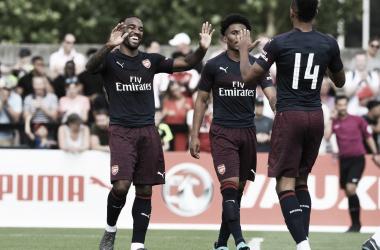 Los jugadores del Arsenal celebran uno de los goles ante el Boreham Wood | Fotografía: Arsenal