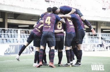 El Barça B celebrando un gol en el Miniestadi. FOTO: Noelia Déniz