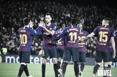 Jugadores del Barça celebrando un gol en el Camp Nou. FOTO: Noelia Déniz.