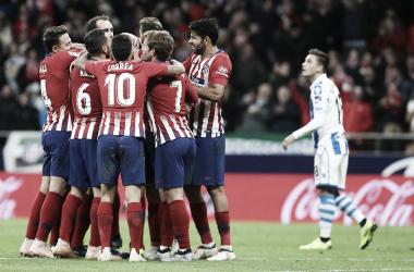 Celebración del Atleti tras el segundo gol / Foto: Club Atlético de Madrid.